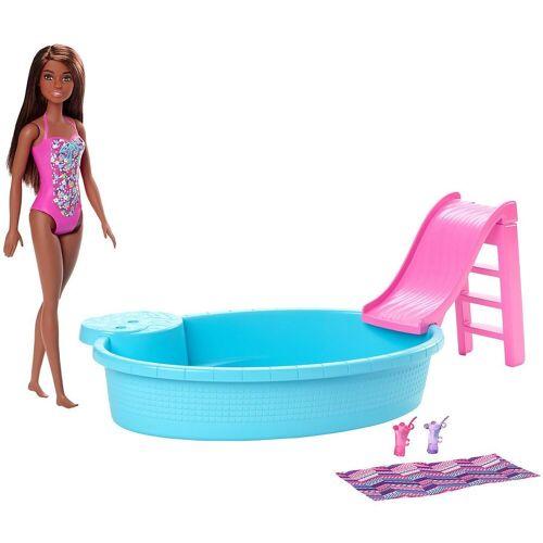 Mattel Puppenkleidung »Barbie Pool und Puppe, brünett«