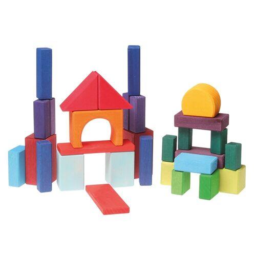 GRIMM´S Spiel und Holz Design Lernspielzeug, 30 Geo-Klötze bunt