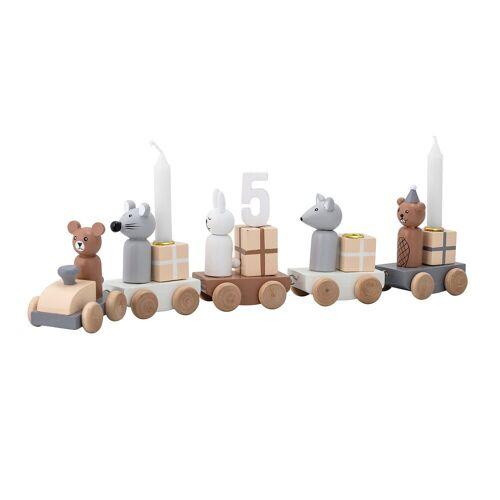 Bloomingville Kerzenhalter »Kerzenhalter Kinder-Geburtstagszug Happy Birthday«, Tiere Grau