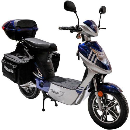 Rolektro E-Mofaroller »eco-City 20 Plus V.2«, 500 W, 20 km/h, (Set, 2 tlg., mit Topcase), Blau/Silber