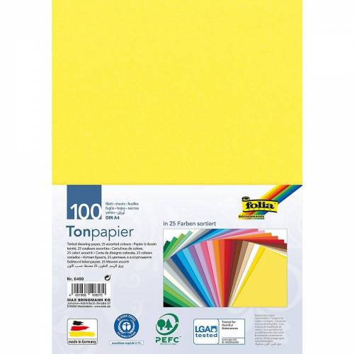 Folia Papierdekoration »Tonpapier A4, 100 Blatt in 25 Farben«
