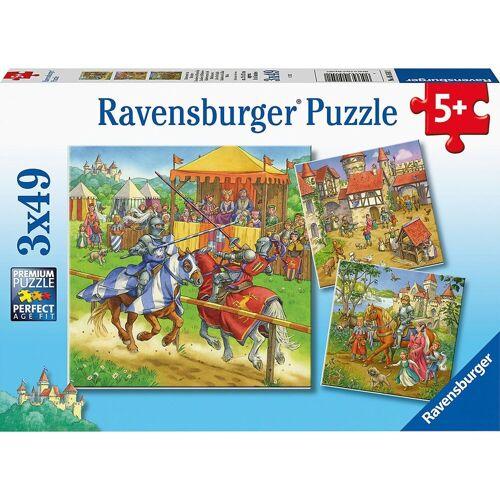 Ravensburger Puzzle »Puzzle Ritterturnier im Mittelalter, 3 x 49 Teile«, Puzzleteile