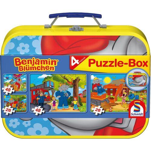 Schmidt Spiele Puzzle »Puzzlebox im Metallkoffer, Benjamin Blümchen®«, 148 Puzzleteile