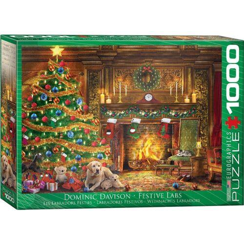 empireposter Puzzle »Dominic Davison - Festliche Weihnachten mit Labradors - 1000 Teile Puzzle im Format 68x48 cm«, 1000 Puzzleteile