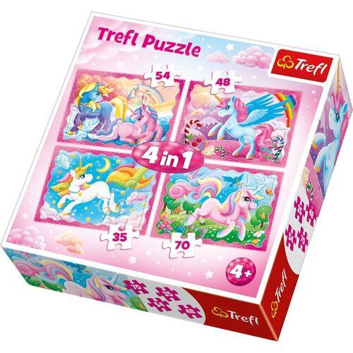 Trefl Puzzle »4in1 Puzzle 35/48/54/70 Teile - Unicorns«, Puzzleteile