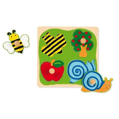 Goula Steckpuzzle »Holzpuzzle- 4 Teile- Biene, Apfelbaum, Apfel«, Puzzleteile