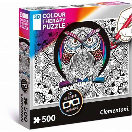 Clementoni® Puzzle »Colour Therapy - Eule«, 500 Puzzleteile, mit 3D Effekt; Made in Europe