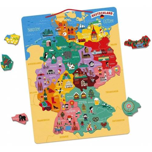 Janod Konturenpuzzle »Magnetische Landkarte Deutschland«, 79 Puzzleteile