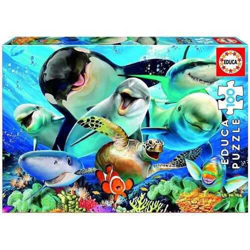 Educa Puzzle »Puzzle Unterwasser Selfie, 100 Teile«, Puzzleteile