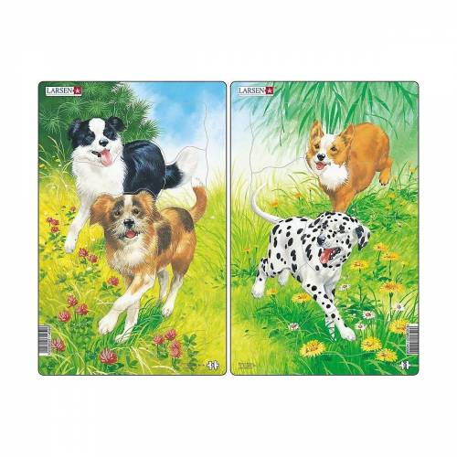 Larsen Puzzle »2er-Set Rahmen-Puzzle, 10 Teile, 28x18 cm, Hunde«, Puzzleteile