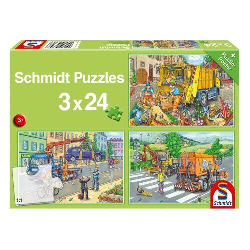 Schmidt Spiele Puzzle »Müllwagen, Abschleppauto & Kehrmaschine 3x24 Teile«, 72 Puzzleteile