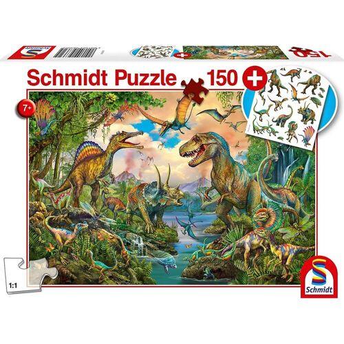Schmidt Spiele Puzzle »Wilde Dinos, 150 Teile, mit add on (Tattoos«, Puzzleteile