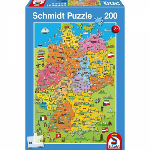 Schmidt Spiele Puzzle »Puzzle, 200 Teile, 36x24 cm, Deutschlandkarte mit«, Puzzleteile