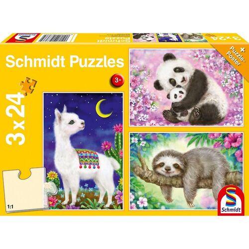Schmidt Spiele Puzzle »Puzzle Panda, Faultier & Lama, 3 x 24 Teile«, Puzzleteile
