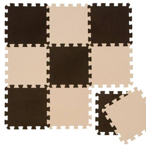 LittleTom Puzzlematte »Baby Puzzlematte ab 0 Kinder Spiel Krabbelmatte«, 10 Puzzleteile, EVA Krabbelmate Braun Beige