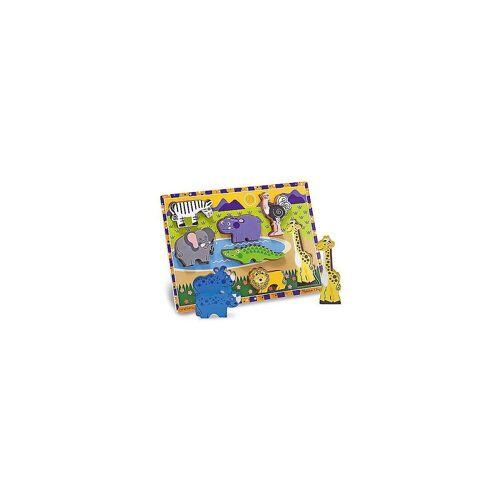 Melissa & Doug Steckpuzzle »Holzklotz-Puzzle Safaritiere, 8 Teile«, Puzzleteile