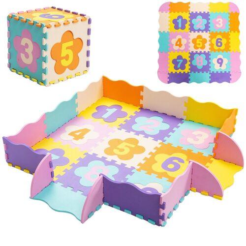 COSTWAY Puzzlematte »Puzzlematte«, 50 Puzzleteile, 50 Stück mit Zaun, Bodenspielmatte mit abnehmbaren Blumenform- und Zahlenmustern, Kinderteppich, Spielteppich Eva, Krabbelmatte