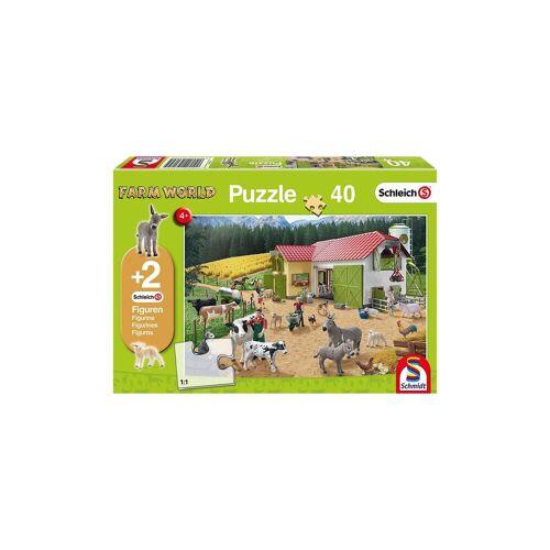 Schmidt Spiele Puzzle 40 Teile Ein Tag auf dem Bauernhof + 2 Schleich®-Figu