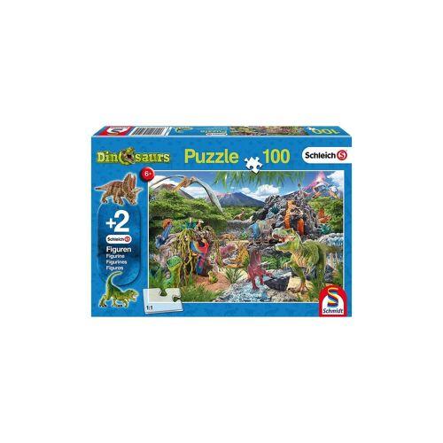 Schmidt Spiele Puzzle 100 Teile Im Reich der Dinosaurier + 2 Schleich®-Dino