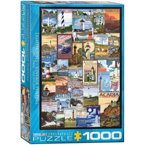 empireposter Puzzle »Vintage Art - Amerikanische Leuchttürme - 1000 Teile Puzzle im Format 68x48 cm«, 1000 Puzzleteile