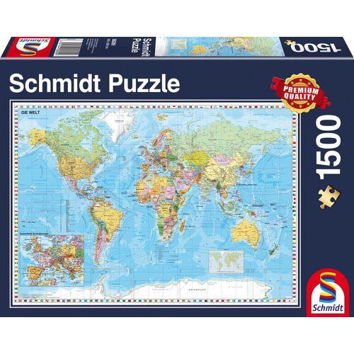 Schmidt Spiele Puzzle »Die Welt, 1500 Teile«, 1500 Puzzleteile, Made in Germany