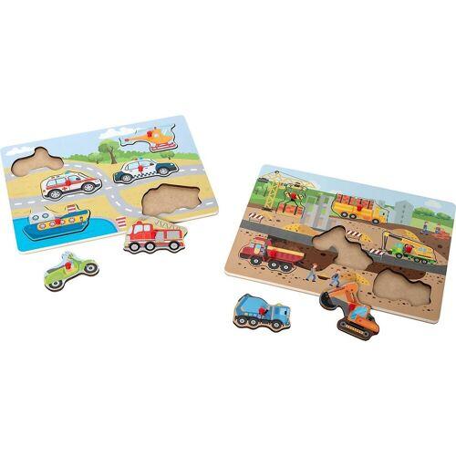 myToys Steckpuzzle »Holzpuzzle 2er Set, Baustelle/Straße«, Puzzleteile