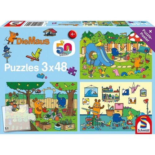 Schmidt Spiele Puzzle »Puzzle Die Maus Ein Tag mit der Maus, 3x48 Teile«, Puzzleteile