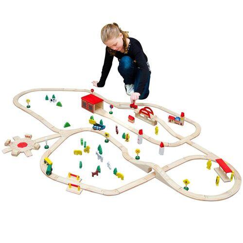 eyepower Spielzeug-Eisenbahn »120-teilige Holzeisenbahn Set Spielzeug-Eisenbahn«, Holzbahn Kinder-Bahn Zug Set