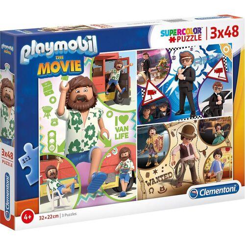 Clementoni® Puzzle »Puzzle 3 x 48 Teile Supercolor Playmobil the Movie«, Puzzleteile