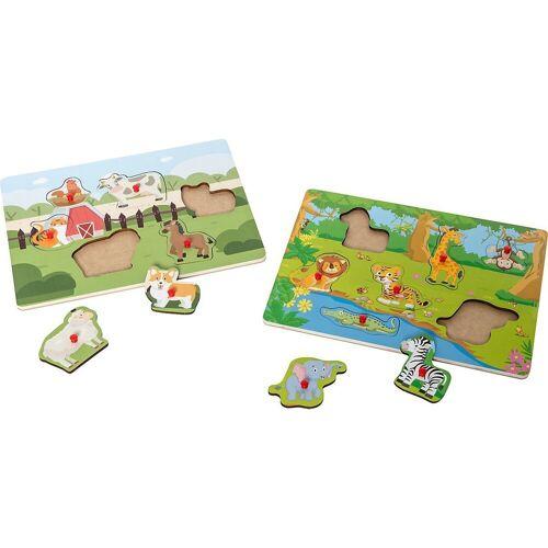 myToys Steckpuzzle »Holzpuzzle 2er Set, Bauernhof/Dschungel«, Puzzleteile
