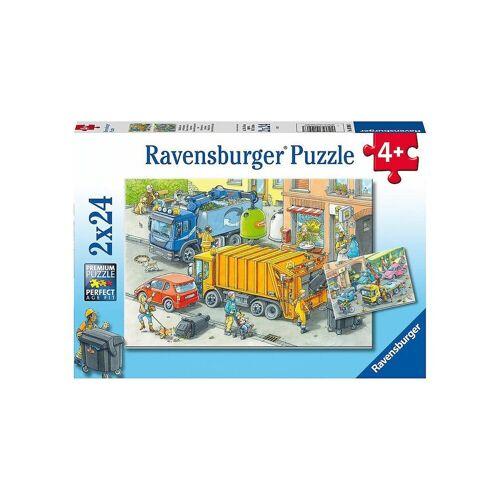 Ravensburger Puzzle »Puzzle Müllabfuhr und Abschleppwagen, 2x24 Teile«, Puzzleteile