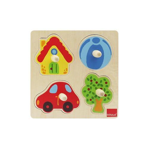 Goula Steckpuzzle »Holzpuzzle- 4 Teile- Zu Hause«, Puzzleteile