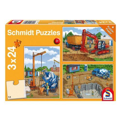 Schmidt Spiele Puzzle »Bagger Auf der Baustelle 3x24 Teile«, 72 Puzzleteile