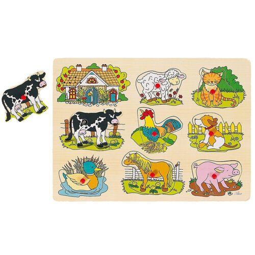 goki Steckpuzzle »Tierstimmen Steckpuzzle Bauernhof«, Puzzleteile