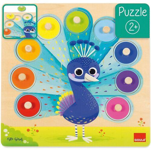 Goula Steckpuzzle »Holzpuzzle Pfau«, Puzzleteile