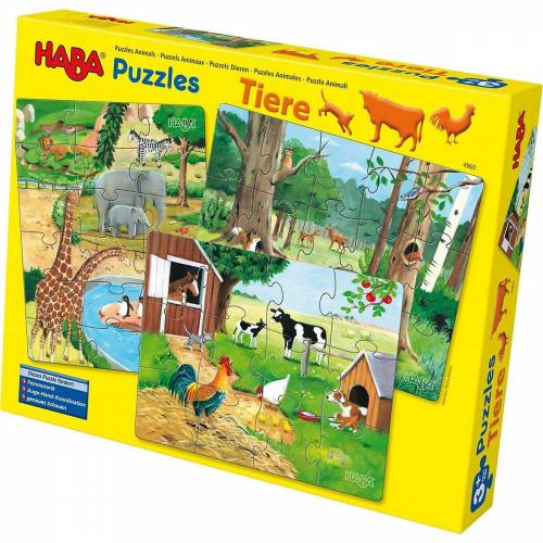 Haba Puzzle »4960 3 in 1 Puzzle-Set Tiere - 12/15/18 Teile«, Puzzleteile