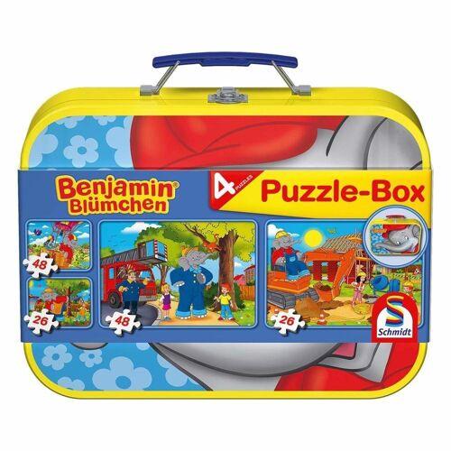 Schmidt Spiele Puzzle »Benjamin Blümchen Puzzle im Metallkoffer 4 Puzzle«, 148 Puzzleteile