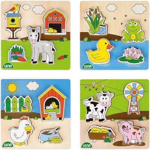 Lena® Steckpuzzle »Holz-Steckpuzzle Bauernhof, 4er-Set«, Puzzleteile