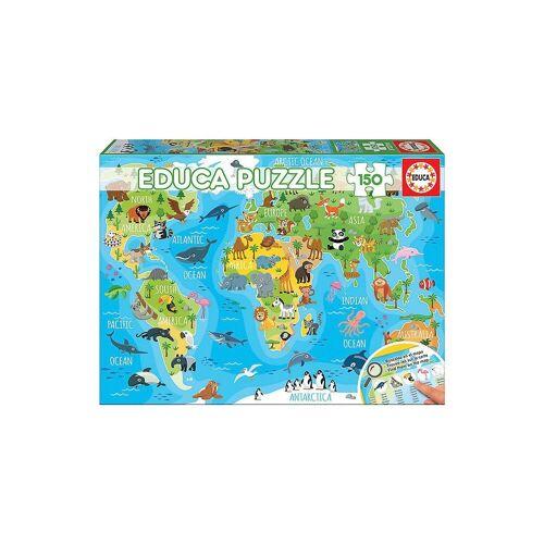 Educa Puzzle »Puzzle, 150 Teile, 48x34 cm Kontinente Tiere«, Puzzleteile