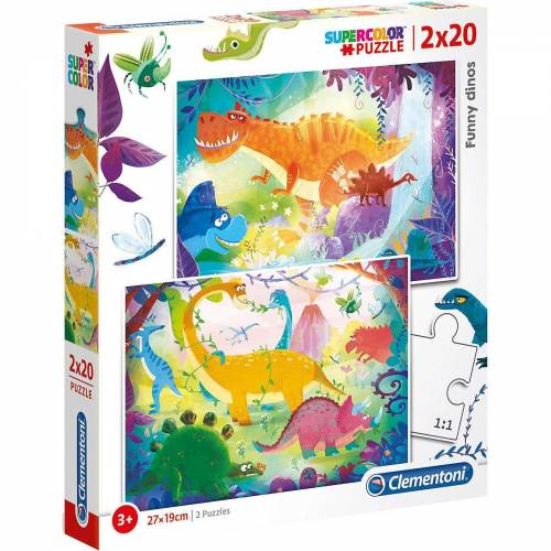 Clementoni® Puzzle »Puzzle 2x20 Teile - Funny Dinos«, Puzzleteile