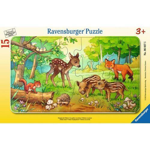 Ravensburger Rahmenpuzzle »Tierkinder Des Waldes - Rahmenpuzzle«, 15 Puzzleteile