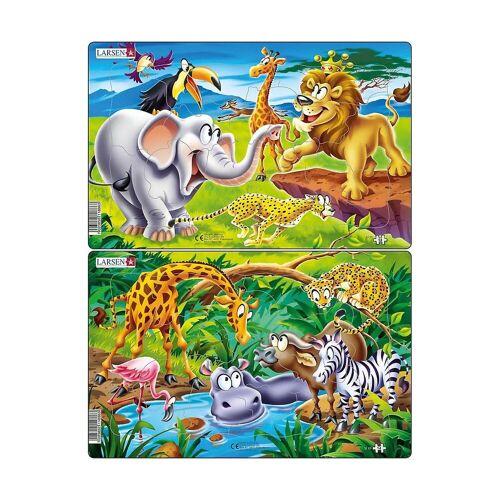 Larsen Puzzle »2er-Set Rahmen-Puzzle, 14 Teile, 28x18 cm, Safari«, Puzzleteile