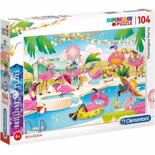 Clementoni® Puzzle »Brillant Puzzle 104 Teile - Flamingo Party«, Puzzleteile