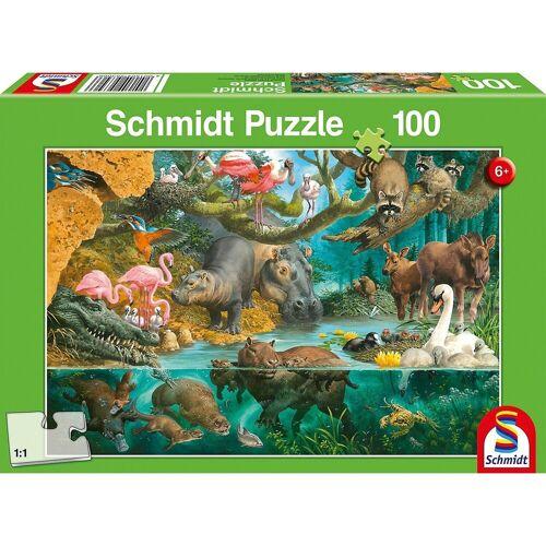 Schmidt Spiele Puzzle »Puzzle 100 Teile Tierfamilien am Ufer«, Puzzleteile