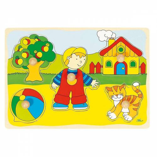goki Steckpuzzle »Holzpuzzle Katze, Haus«, Puzzleteile