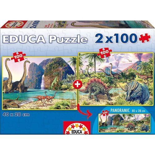 """Educa Puzzle »Puzzle """"Dinosaur World"""", 2x100 Teile«, Puzzleteile"""