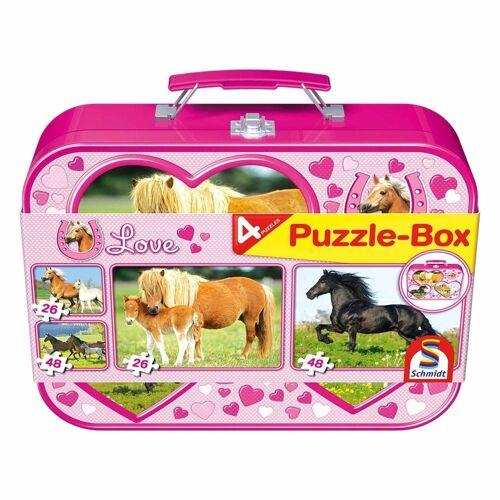 Schmidt Spiele Puzzle »Pferde Puzzle-Box 4 Puzzle«, 148 Puzzleteile