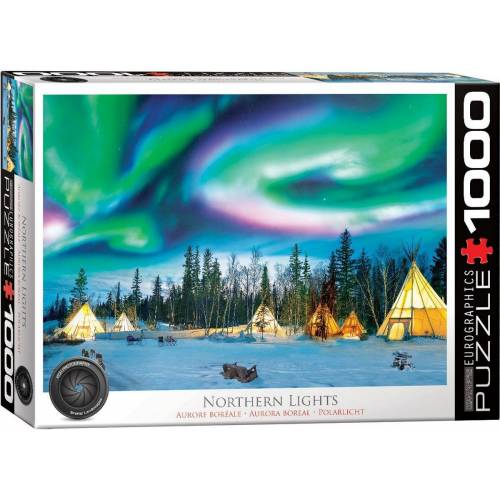 empireposter Puzzle »Nordlichter in Yellowknife - 1000 Teile Puzzle Format 68x48 cm«, 1000 Puzzleteile