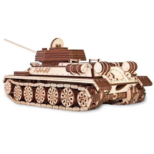 ECO Wood Art 3D-Puzzle »T-34-85 – Panzer – mechanischer Modellbausatz aus Holz«, Puzzleteile