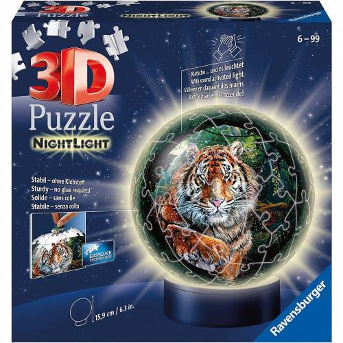 Ravensburger 3D-Puzzle »3D-Puzzle-Ball Nachtlicht - Raubkatzen, 72 Teile«, Puzzleteile